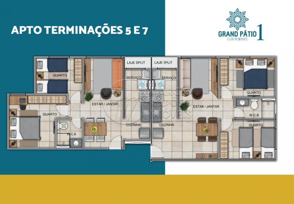 GRAND PÁTIO CLUB RESIDENCE  * VALOR SUJEITO A ALTERAÇÃO. (PREÇO REF. AO APT. 6 BLOCO A)  Apartamento de 44,23m² para Venda.  Possui: - sala de estar/ jantar; - 2 quartos; - WC social; - cozinha/ serviço; - laje Split.